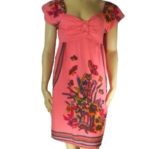 Aryeh 100% Cotton Pink Floral Dress Small